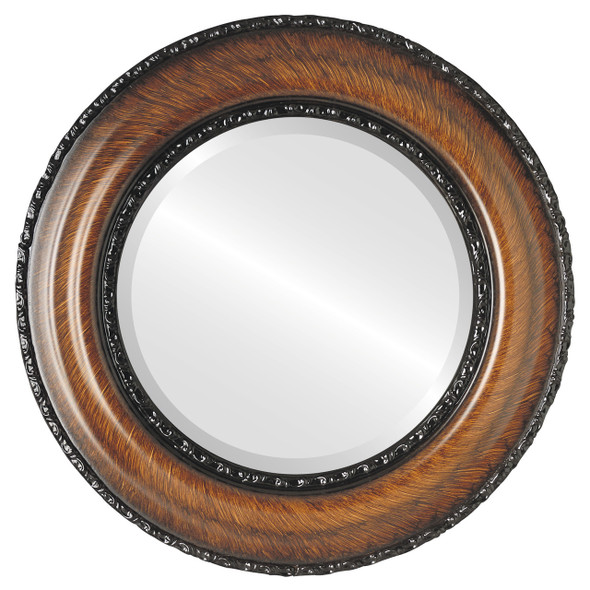 Beveled Mirror - Somerset Round Frame - Vintage Walnut