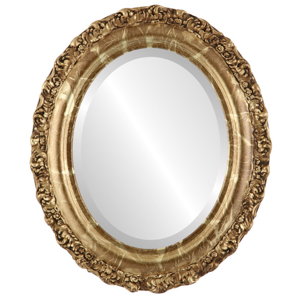 Beveled Mirror - Venice Oval Frame - Champagne Gold
