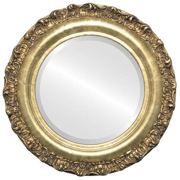 Beveled Mirror - Venice Round Frame - Champagne Gold