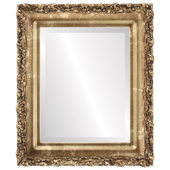 Beveled Mirror - Venice Rectangle Frame - Champagne Gold
