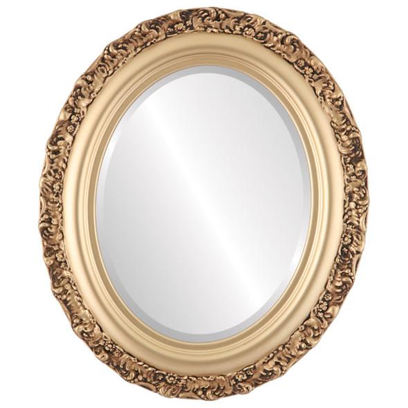 Beveled Mirror - Venice Oval Frame - Gold Spray