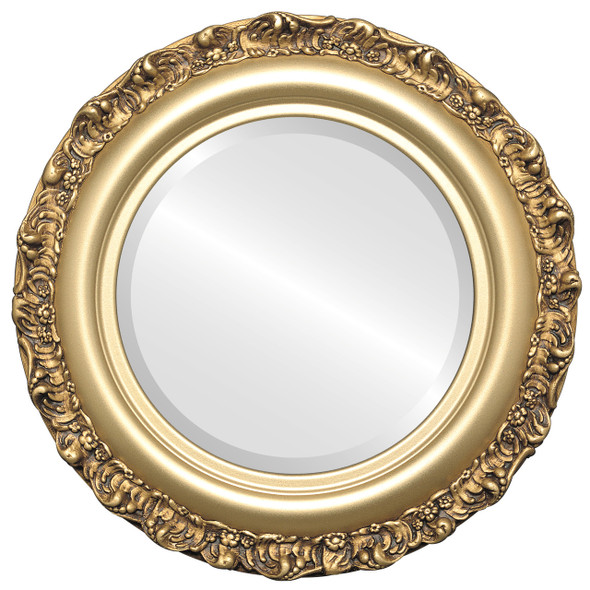 Beveled Mirror - Venice Round Frame - Gold Spray