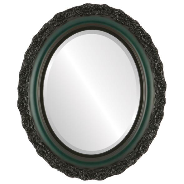 Beveled Mirror - Venice Oval Frame - Hunter Green