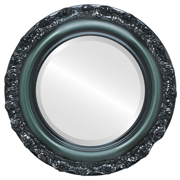 Beveled Mirror - Venice Round Frame - Hunter Green