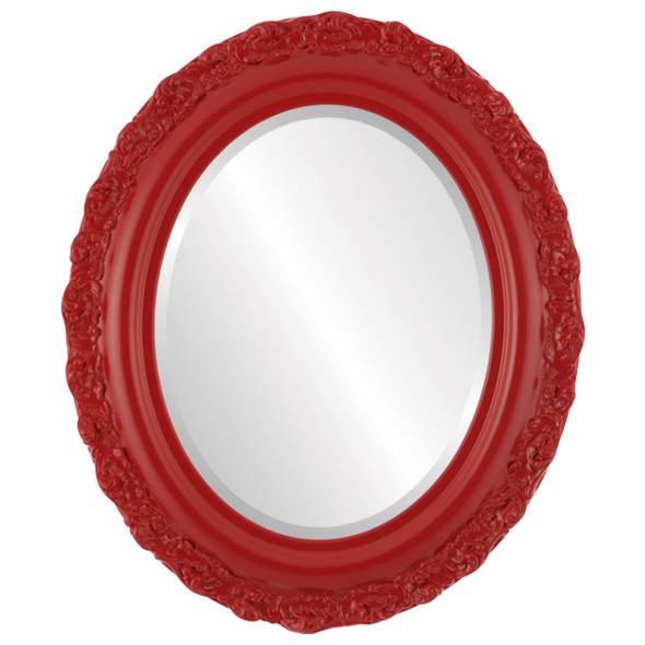 Beveled Mirror - Venice Oval Frame - Holiday Red