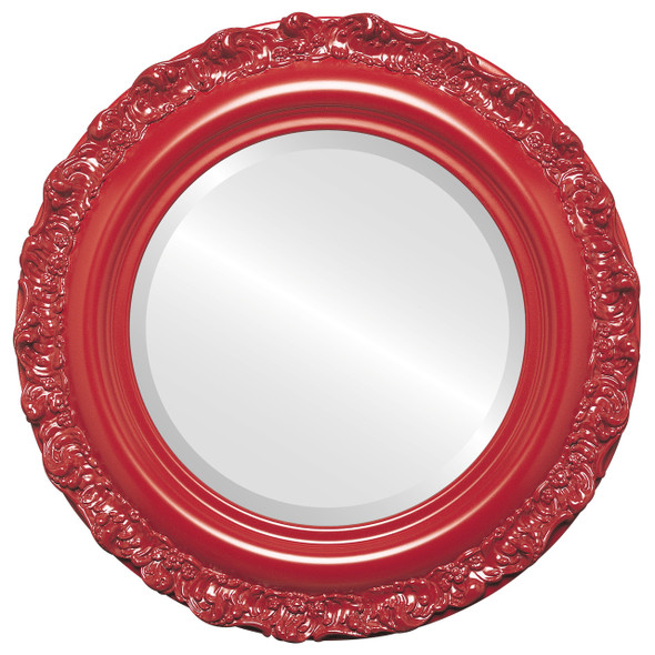 Beveled Mirror - Venice Round Frame - Holiday Red