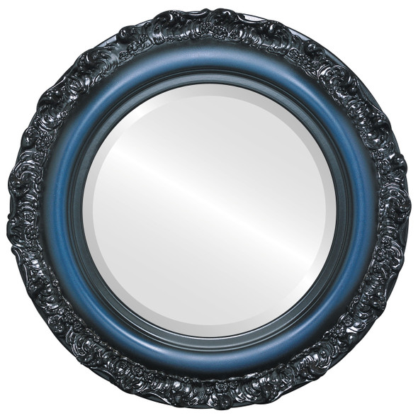 Beveled Mirror - Venice Round Frame - Royal Blue