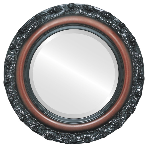 Beveled Mirror - Venice Round Frame - Rosewood