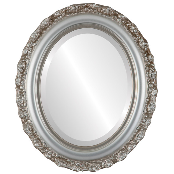 Beveled Mirror - Venice Oval Frame - Silver Shade