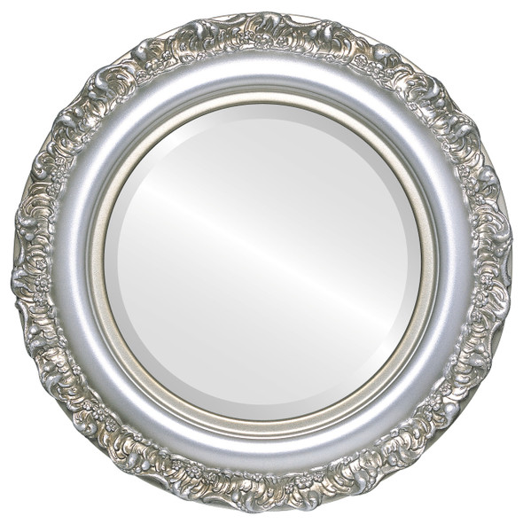 Beveled Mirror - Venice Round Frame - Silver Shade