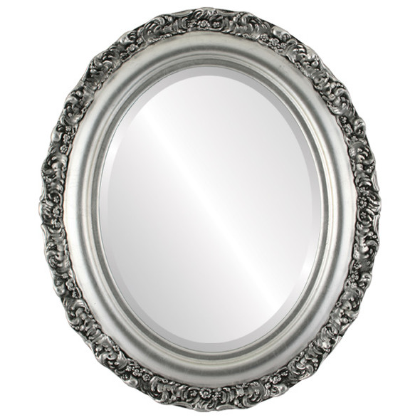 Beveled Mirror - Venice Oval Frame - Silver Leaf with Black Antique