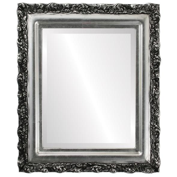 Beveled Mirror - Venice Rectangle Frame - Silver Leaf with Black Antique