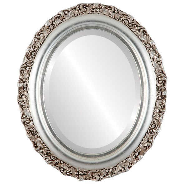 Beveled Mirror - Venice Oval Frame - Silver Leaf with Brown Antique