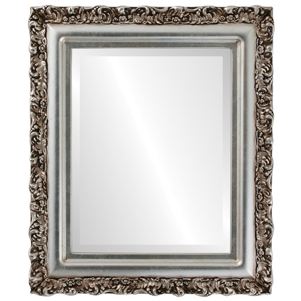 Beveled Mirror - Venice Rectangle Frame - Silver Leaf with Brown Antique