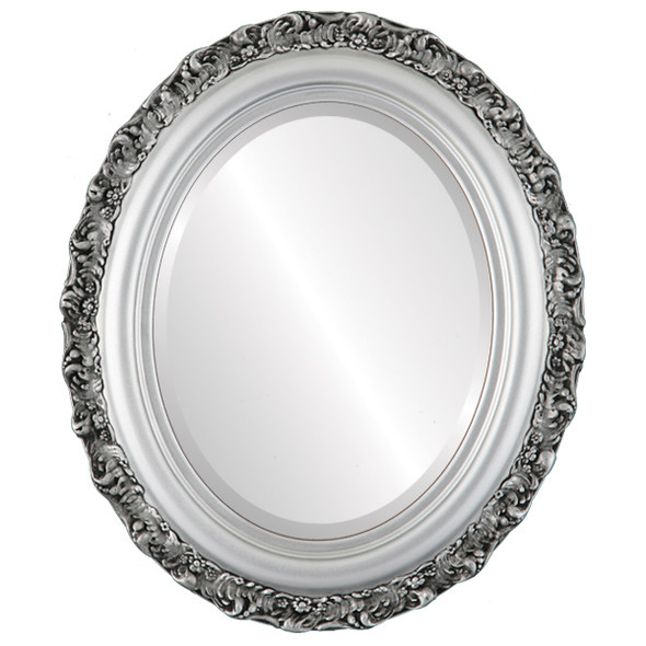 Beveled Mirror - Venice Oval Frame - Silver Spray