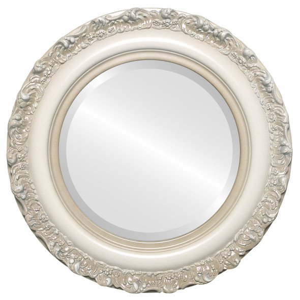 Beveled Mirror - Venice Round Frame - Taupe