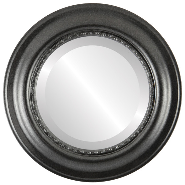 Beveled Mirror - Chicago Round Frame - Black Silver