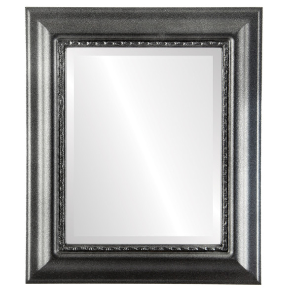 Beveled Mirror - Chicago Rectangle Frame - Black Silver