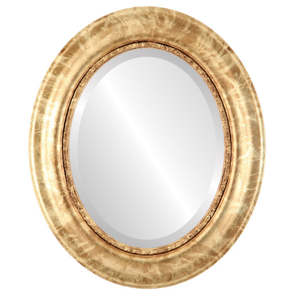 Beveled Mirror - Chicago Oval Frame - Champagne Gold