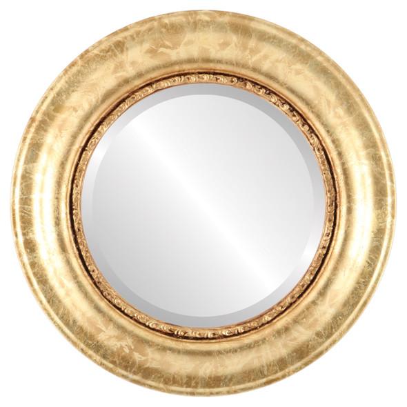 Beveled Mirror - Chicago Round Frame - Champagne Gold