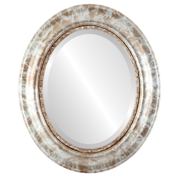 Beveled Mirror - Chicago Oval Frame - Champagne Silver