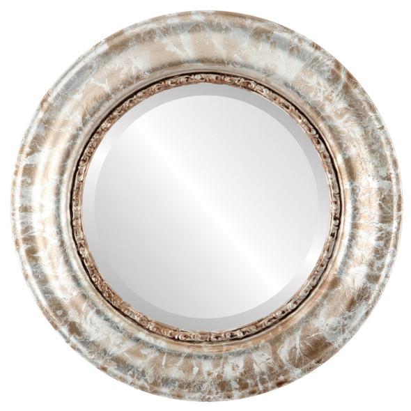 Beveled Mirror - Chicago Round Frame - Champagne Silver