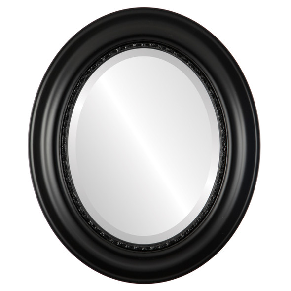 Beveled Mirror - Chicago Oval Frame - Gloss Black