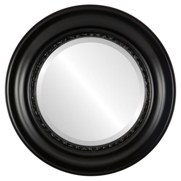 Beveled Mirror - Chicago Round Frame - Gloss Black