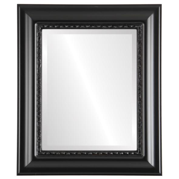Beveled Mirror - Chicago Rectangle Frame - Gloss Black