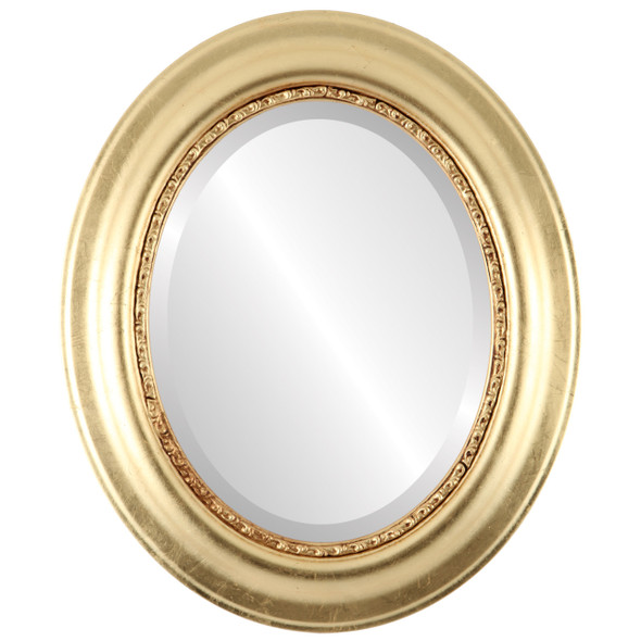 Beveled Mirror - Chicago Oval Frame - Gold Leaf