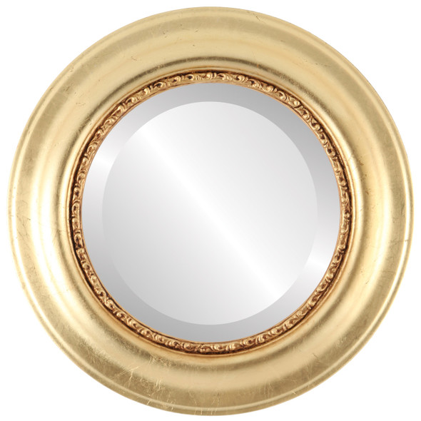 Beveled Mirror - Chicago Round Frame - Gold Leaf