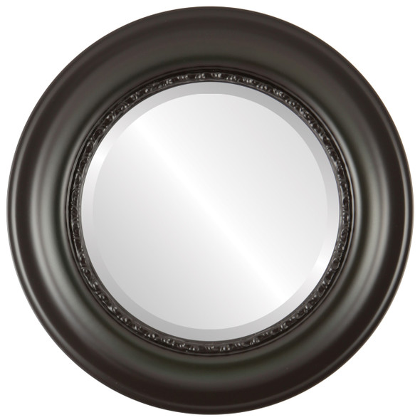 Beveled Mirror - Chicago Round Frame - Hunter Green