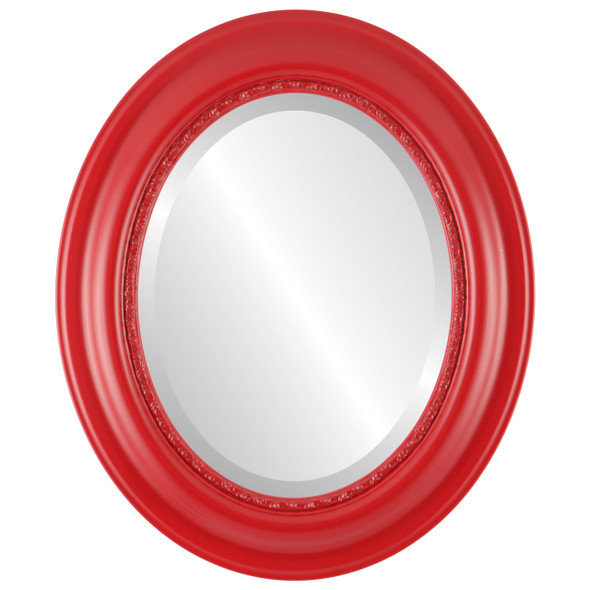 Beveled Mirror - Chicago Oval Frame - Holiday Red