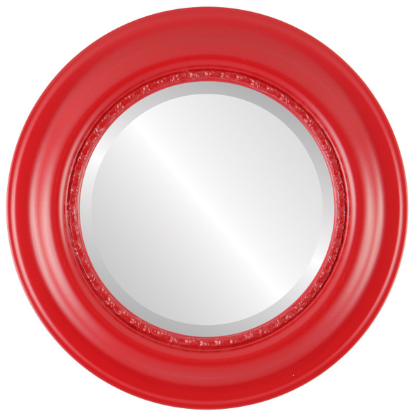 Beveled Mirror - Chicago Round Frame - Holiday Red