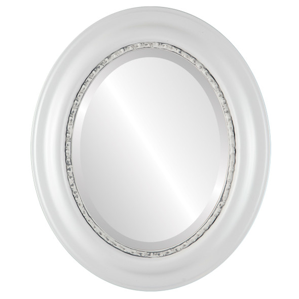 Beveled Mirror - Chicago Oval Frame - Linen White