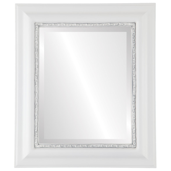 Beveled Mirror - Chicago Rectangle Frame - Linen White