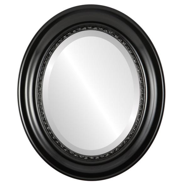 Beveled Mirror - Chicago Oval Frame - Matte Black