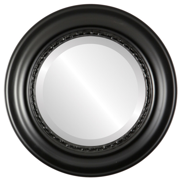 Beveled Mirror - Chicago Round Frame - Matte Black