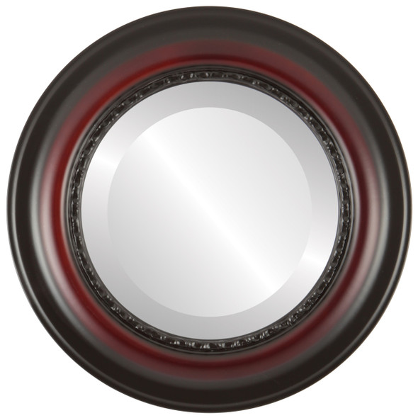 Beveled Mirror - Chicago Round Frame - Rosewood
