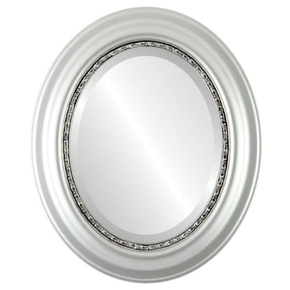 Beveled Mirror - Chicago Oval Frame - Silver Leaf with Black Antique