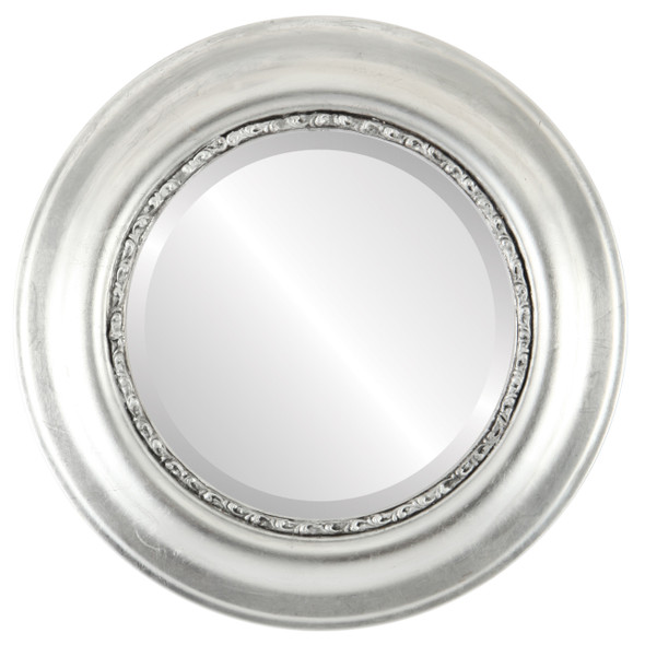 Beveled Mirror - Chicago Round Frame - Silver Leaf with Black Antique