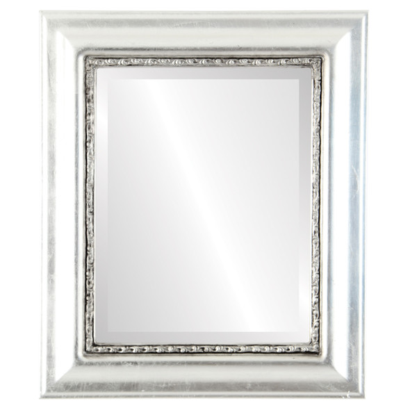 Beveled Mirror - Chicago Rectangle Frame - Silver Leaf with Black Antique