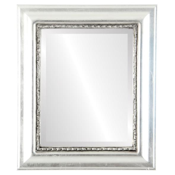 Beveled Mirror - Chicago Rectangle Frame - Silver Leaf with Black Antique