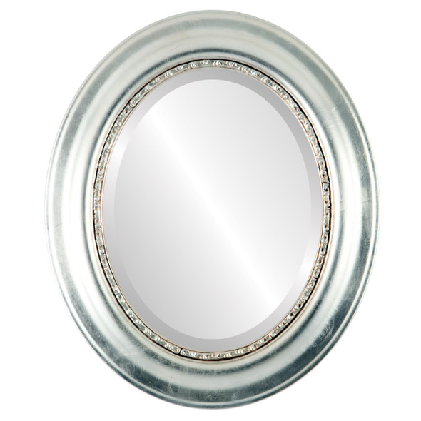 Beveled Mirror - Chicago Oval Frame - Silver Leaf with Brown Antique