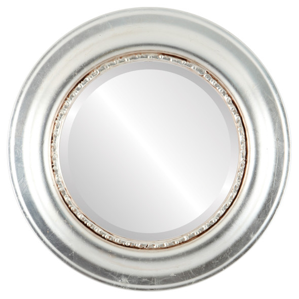 Beveled Mirror - Chicago Round Frame - Silver Leaf with Brown Antique