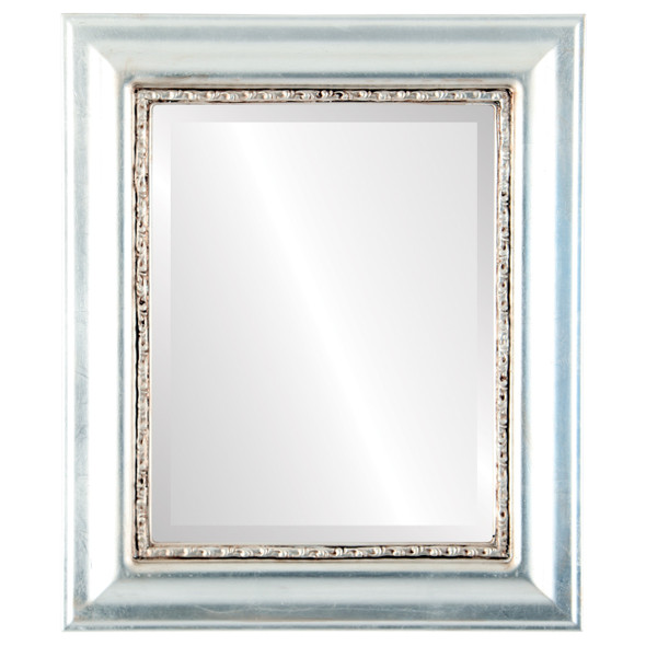 Beveled Mirror - Chicago Rectangle Frame - Silver Leaf with Brown Antique