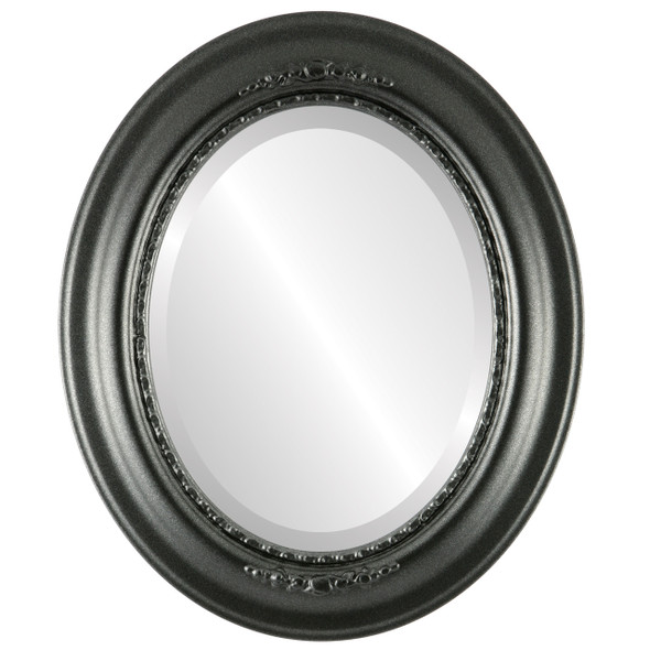 Beveled Mirror - Boston Oval Frame - Black Silver