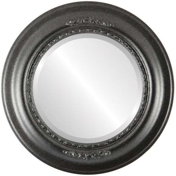 Beveled Mirror - Boston Round Frame - Black Silver