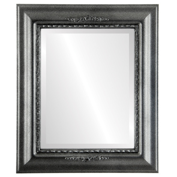 Beveled Mirror - Boston Rectangle Frame - Black Silver