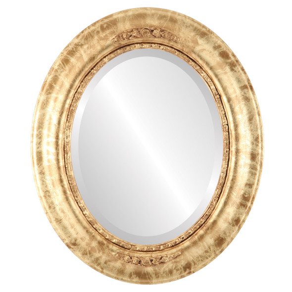 Beveled Mirror - Boston Oval Frame - Champagne Gold